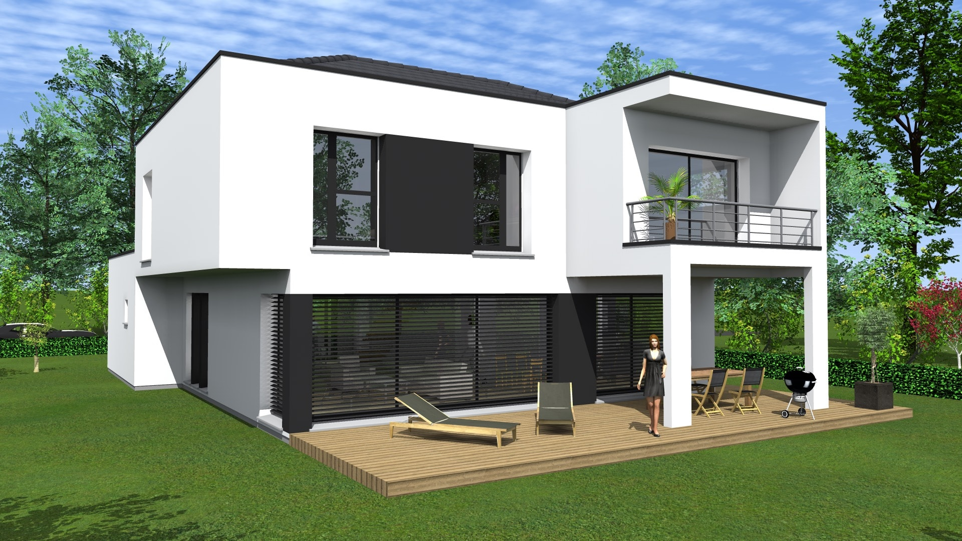 Maison en bois contemporaine toit plat for Constructeur maison bois contemporaine