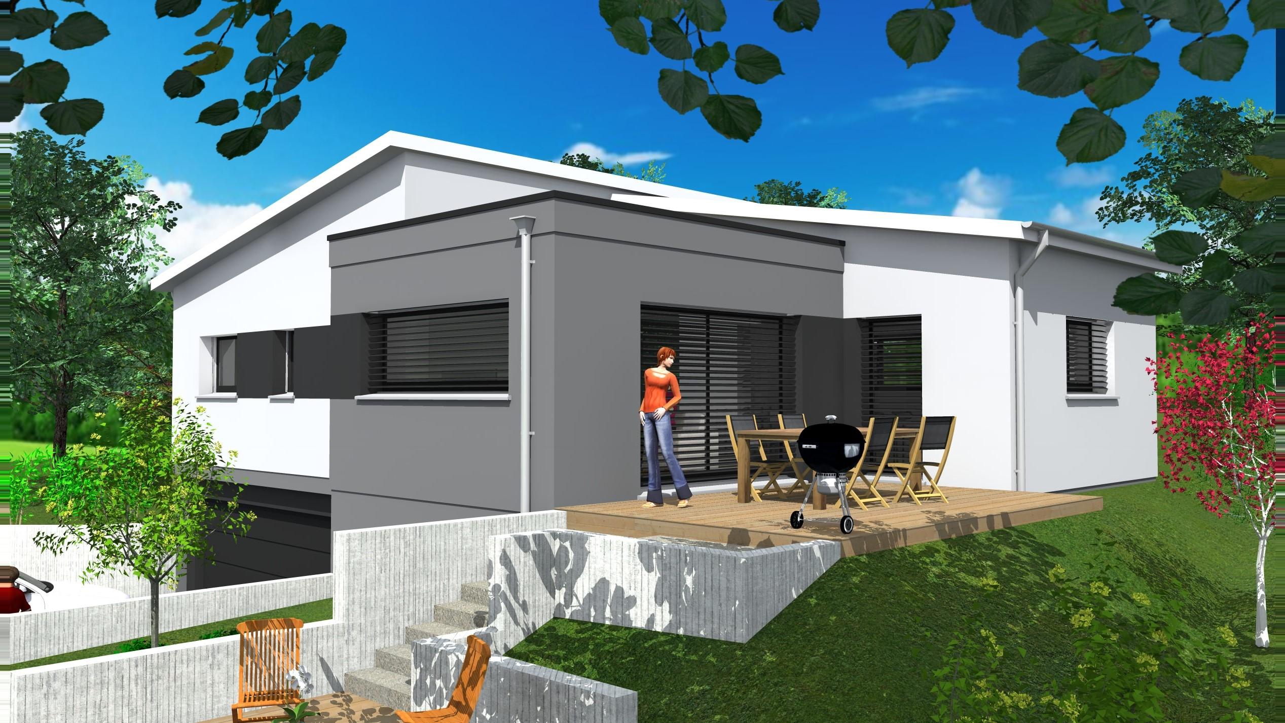 Faade maison moderne exemple plan maison n8 facade for 2 maison parc court