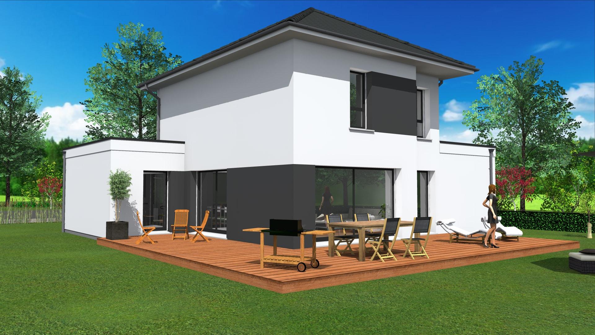 Maison contemporaine toit 4 pans for Maison moderne toit 4 pans