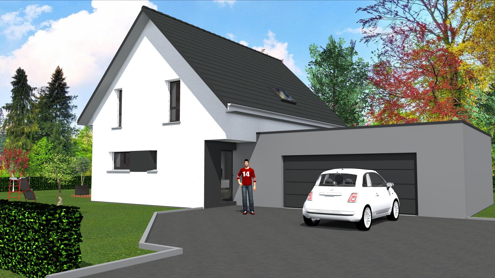 cabinet de maitrise d 39 oeuvre c maison contemporaine 2 pans et toit plat sur garage accol sur. Black Bedroom Furniture Sets. Home Design Ideas