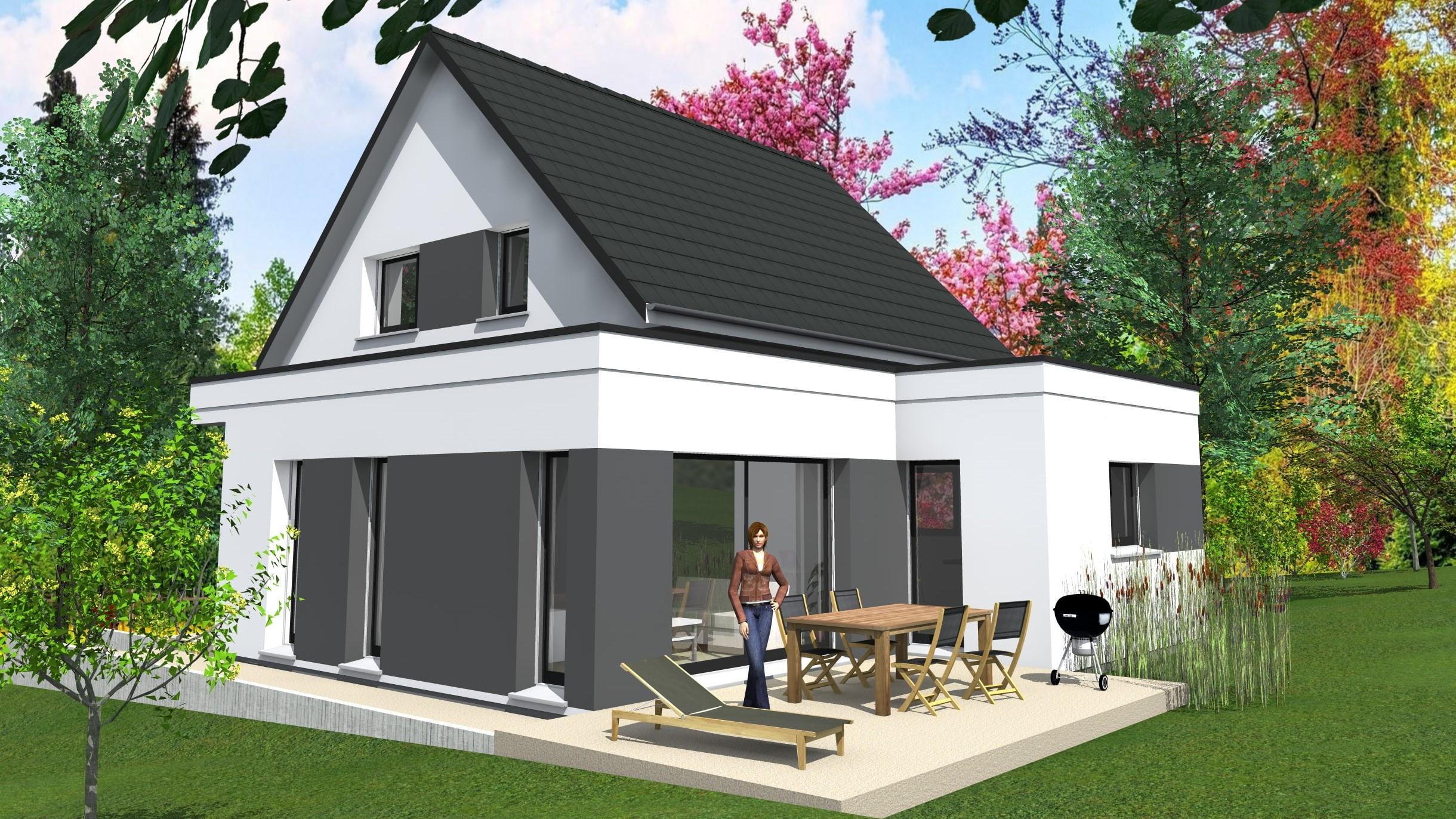 cabinet de maitrise d 39 oeuvre c maison contemporaine toit plat et double pente magstatt le bas. Black Bedroom Furniture Sets. Home Design Ideas